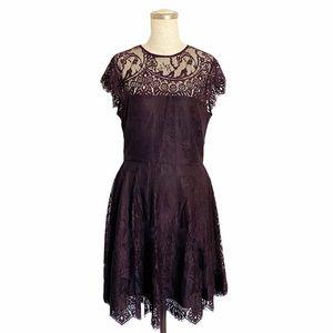 BB Dakota Purple Rhianna Lace Fit & Flare Dress